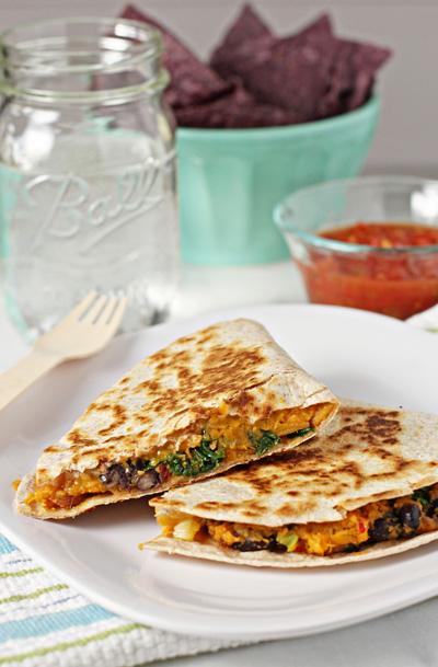 Sweet-potato-black-bean-and-kale-quesadillas frm cookiemonstercooking.com
